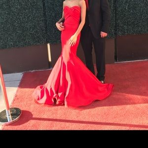 Red custom made gown